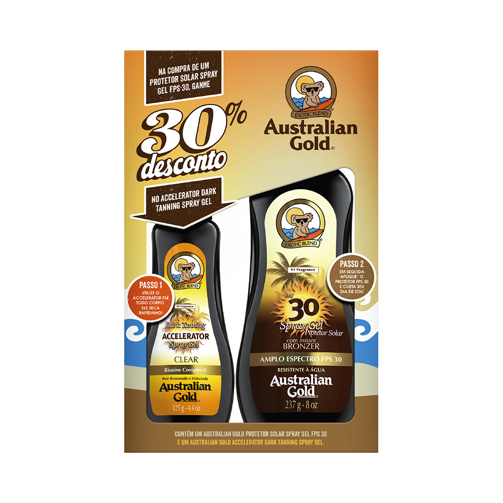 KIT AUSTRALIAN GOLD - PROTETOR FPS 30 237ML +  BRONZEADOR 125ML